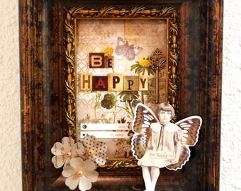 3D Paper doll mixed media art collage