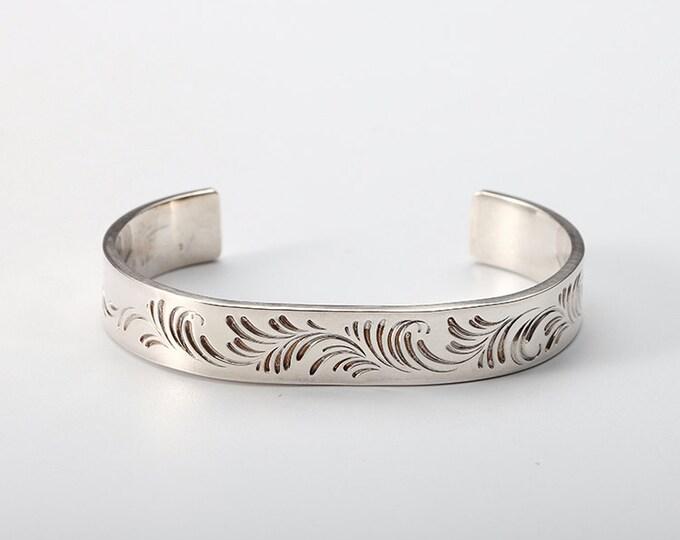 Arabesque Bracelet | Sterling Silver Bangle | Arabesque Carved Bangle | Personalized Bangle | Engraved Bangle | Personalized Cuff Bracelet