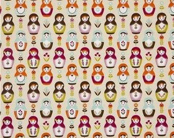 Matryoshka fabric, patchwork fabric, Little Matryoshka by Riley Blake cream fabric
