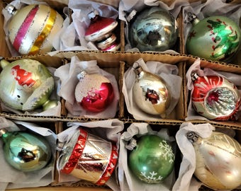 Mid Century  Mercury Glass Christmas Ornaments - Shiny Brite and Fantasia - Assorted Colors and Shapes - Box of 12 - Large Size