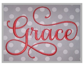 """Grace Embroidery Font #2 - 5"""" 6"""" 7"""" 11 Formats Machine Embroidery Fonts Script Embroidery Fonts BX Fonts PES Fonts - Instant Download Files"""