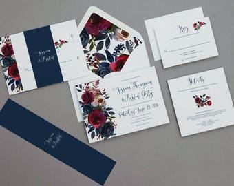 Burgundy and Navy Floral Wedding Invitations,Merlot and Navy Wedding Invite,Boho Rustic Rose Wedding Invitation,Rustic Winter Wedding Invite