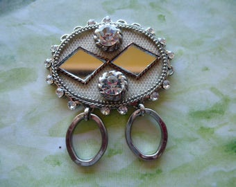 old very cool vintage pendant charm with Rhinestones and mirrors