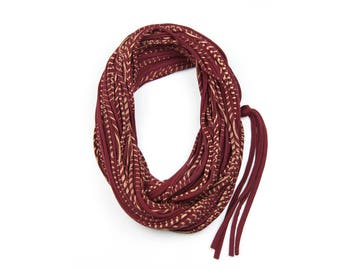 Statement Necklace, Infinity Scarf, Statement Jewelry, Travel Gift, Scarf Women, Travel Accessories, Maroon Scarf, Scarves for Women, Womens