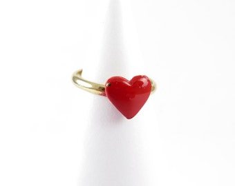 Vintage Gold Plated Red Enamel Heart Ring - one size fits most (4X) (J487)