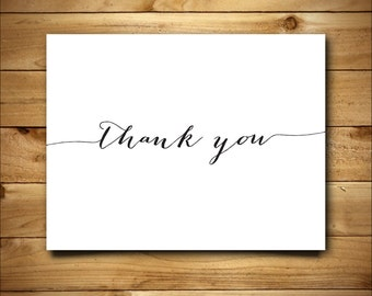 Printable Thank You Card - Chalkboard Hand Lettered Design - Blank Inside - White and Black - Instant Download