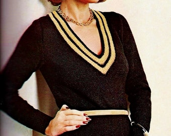 V Neck Sweater Vintage Knitting Pattern Instant Download