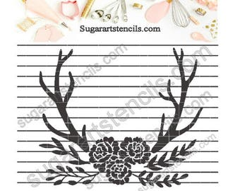 Deer antlers wood floral boho chic cookie stencil  NB600104