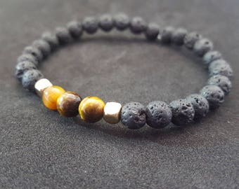 Lava stone and Tigers eye braceclet