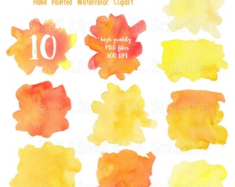 Yellow Orange watercolor splatters and blotches, watercolor clipart splotches in yellow-orange, graphic PNG files, instant download