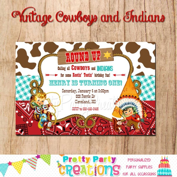 COWBOYS and INDIANS Vintage inspired invitation You Print
