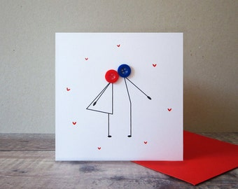 Button Kissing Couple Card - Anniversary Card - Valentines Card - Wedding Card - Button Character Card