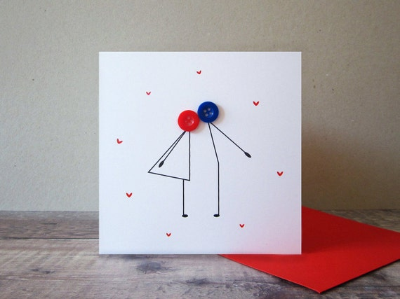 Button kissing couple card anniversary card valentines