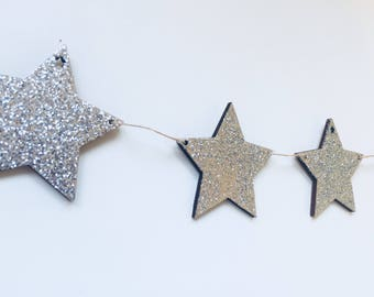 Wooden Glitter Star Garland/Decoration - Silver