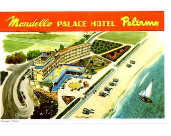 Genuine Vintage 1930s-'50s Luggage Label Mondello Palace Hotel, Palermo, Sicily -- Free Shipping!