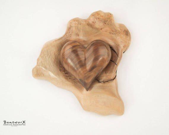 """Say I Love You with this Hand Carved """"Beautiful"""" Oregon Black Walnut Heart with Holder (2 Pieces)   Bentworx™ Wall Art"""