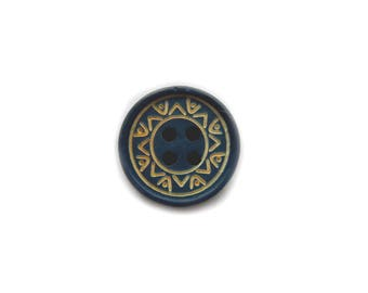 10 Blue Decorated Buttons 5/8""