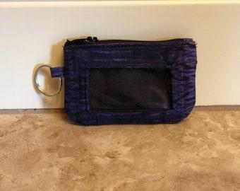 ID Wallet, Keychain, Coin Purse - Blue Tie Dye Streak with Black