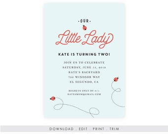 Printable Ladybug Birthday Invitation | Ladybug Printable Invitation, Digital, Ladybug Invitation Template, Ladybug Birthday Invitation