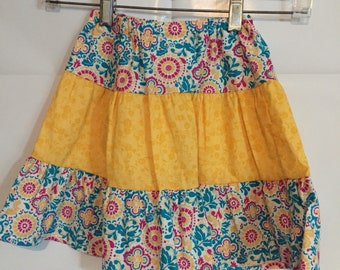 Girls size 4 modest three tier skirt in teal yellow and pink