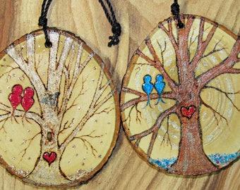 Love Birds wood slice ornaments, pyrography painting, wood slice painting, love bird trees, love bird art, blue birds, red birds, tree art
