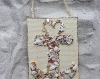 Anchors, anchor ornament, crushed shell art, crushed shell anchor, nautical, seashell anchor, coastal decor