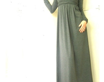 MAXI DRESS womens dress| grey dress| trending items| best selling| long dress| dress with long sleeves| ankle length dress| unique dress