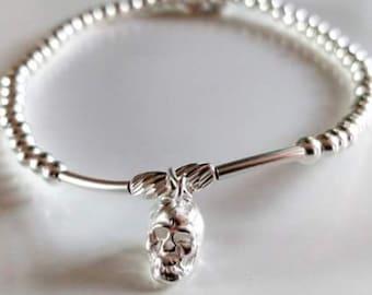Skull Sterling Silver Stacking Bracelet