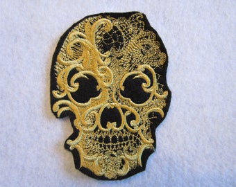 Embroidered Skull Iron On Patch, Iron On Patch, Skull Patch, Skull Applique, Goth Patch, Biker Patch