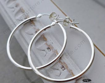 """35mm (1.37"""") 2mm Thick Hoop Earring 925 Sterling Silver F23"""