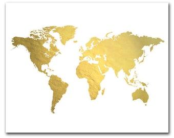 Gold world map etsy world map print gold foil map gold world map gold map print sciox Image collections