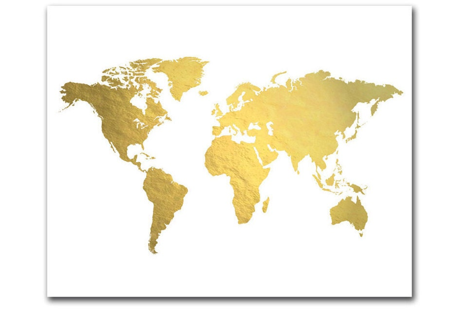 World map print gold foil map gold world map gold map ampliar gumiabroncs Gallery