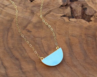 Half circle necklace, howlite necklace, gold filled chain, blue howlite, half moon necklace