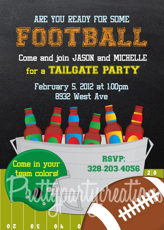 Printable Football Party Invitations For Adult Kid Family Parties