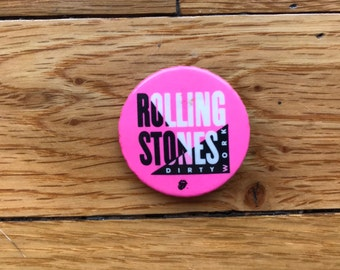 Vintage 1986 Rolling Stones Dirty Work Concert Tour Pin/Button Pink