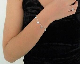 Christmas - Solid silver bohemian bracelet 925 pendants diamonds/ rectangles/ minimalist bracelet/ boho bracelet/ silver bracelet