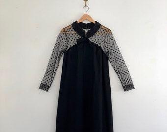 Vintage 60's Black Illusion Cocktail Dress S