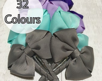 Ribbon hair clips, pair of clips, bow clips, tux bow clips