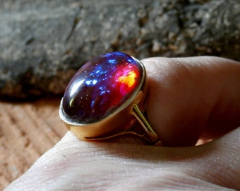 Antique Victorian Era Gold Gilt Ring Stunning Antique Glass Dragons Breath Opal Cabochon Circa: 1870's
