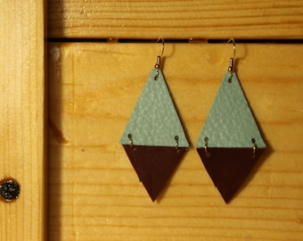Two Triangle Turquoise and Brown Leather Earring