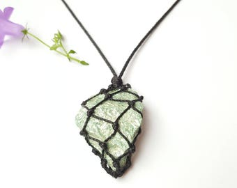 Fuchsite, mens necklace, mans pendant, green pendant, raw stone pendant, green fuschite, shimmery stones, mica, mens jewelry, mans jewellery