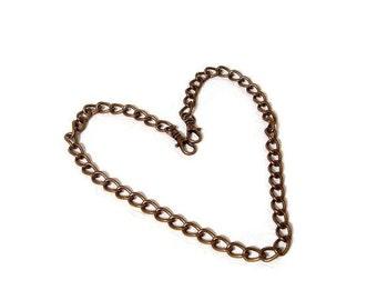 44 Inch Antique Brass Bevel Cut Purse Chain  Free U.S. Shipping