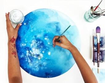 Watercolor Moon Art Personalized Gift Custom Moon Original Watercolor Painting Celestial Art CreativeIngrid