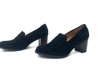 High Heel Loafers Black Suede Leather Bass women's shoe size 7