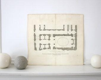 1676 Rare Roman Architectural Engraving  Sandrart  17.5 x 16.25 inches
