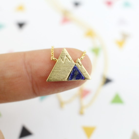 Best Christmas Danties: Gold Mountain With Navy Snowy Mountain Top Necklace Dainty