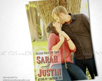 Bold and Simple Save The Date - Engagement Photo - DIY Printable