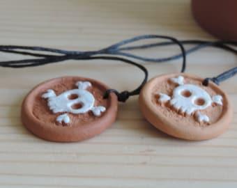 Scull necklace pendant. Ceramic pendant. Clay necklace scull