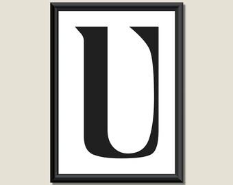 Typography Digital Print Monogram Initial Wall Art Ariosto Letter U