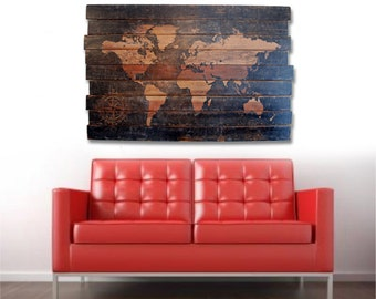 "Extra Large World Map and Compass Wall Art on Distressed Solid Wood - 50"" x 32"""